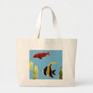 Fish Art swimming in the sea Large Tote Bag