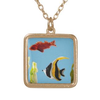 Fish Art swimming in the sea Square Pendant Necklace