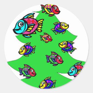 fish at Christmas tree Classic Round Sticker
