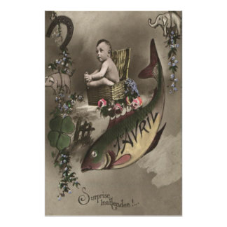 Fish Baby Four Leaf Clover Poisson d'avril Poster