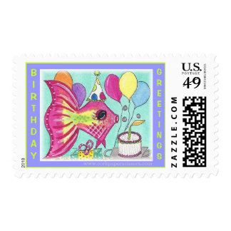 Fish Birthday Postage Stamps