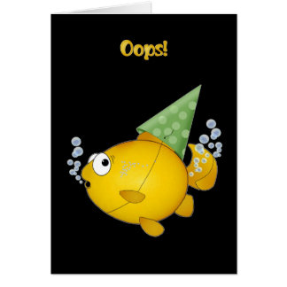 FISH birthday tooting oops! Card