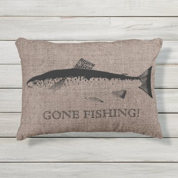 Beach Themed Fish Black Burlap Linen Outdoor Pillow