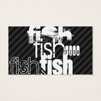 Fish; Black & Dark Gray Stripes Business Card