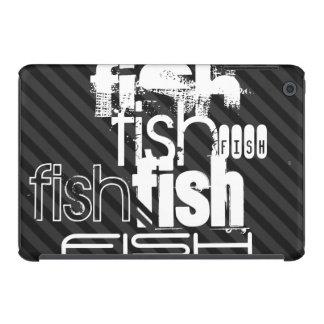 Fish; Black & Dark Gray Stripes iPad Mini Retina Cover