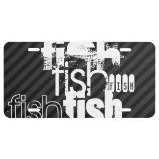 Fish; Black & Dark Gray Stripes License Plate