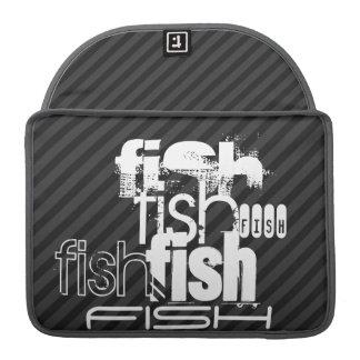 Fish; Black & Dark Gray Stripes Sleeve For MacBooks