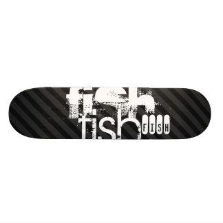 Fish; Black & Dark Gray Stripes Skateboard