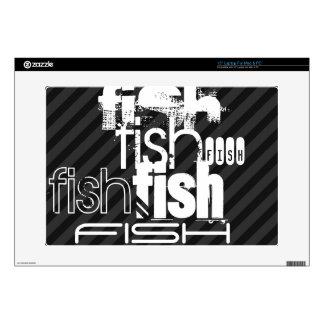 Fish; Black & Dark Gray Stripes Laptop Decal
