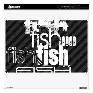 "Fish; Black & Dark Gray Stripes Skin For 11"" MacBook Air"