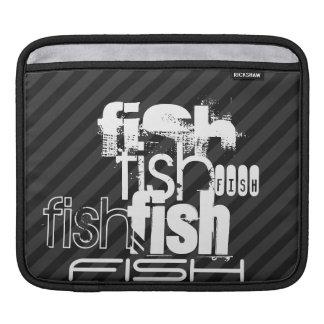 Fish; Black & Dark Gray Stripes Sleeve For iPads