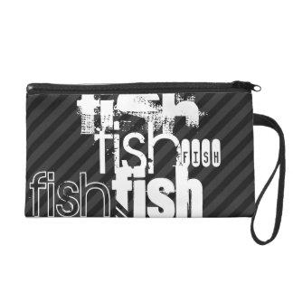 Fish; Black & Dark Gray Stripes Wristlet Clutches