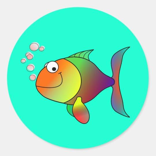 Fish Blowing Bubbles Classic Round Sticker Zazzle Com