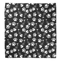 fish bone cat print pattern bandana