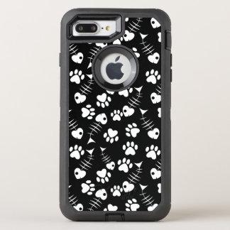 fish bone cat print pattern OtterBox defender iPhone 7 plus case