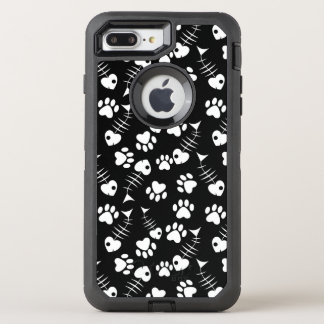 fish bone cat print pattern OtterBox defender iPhone 8 plus/7 plus case