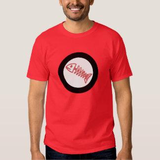 fish bone scales round logo red white black T-Shir Shirt
