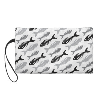 Fish Bone Soup Retro Pattern Wristlet Purse
