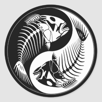 Fish Bone Yang Classic Round Sticker