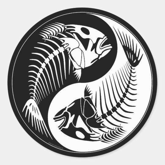 fish bone yang classic round sticker. Black Bedroom Furniture Sets. Home Design Ideas