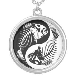 Fish Bone Yang Round Pendant Necklace