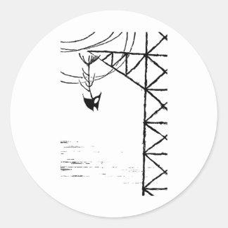 Fish Bones On Power Line Tower Round Stickers