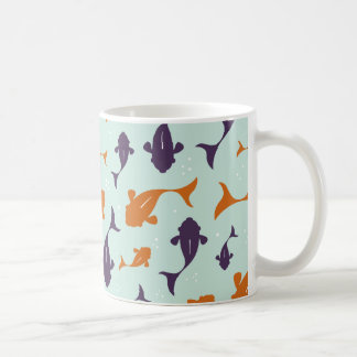 Fish Bowl | Aqua Orange Pattern Design Coffee Mug