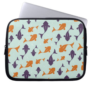Fish Bowl | Aqua Orange Pattern Design Computer Sleeve