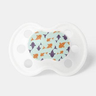 Fish Bowl | Aqua Orange Pattern Design Pacifier