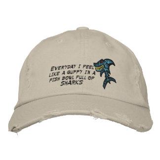 Fish bowl full of sharks embroidered baseball hat