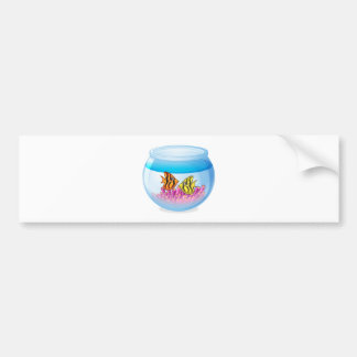 Fish bowl isolated on white background car bumper sticker