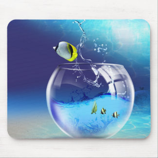 Fish Bowl on Ocean Bottom Mouse Pad