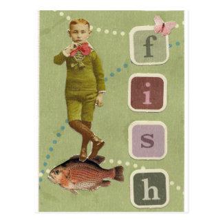 FISH Boy Vintage Collage Postcard