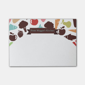 Fish bread fruit vegetable food chef catering post-it notes