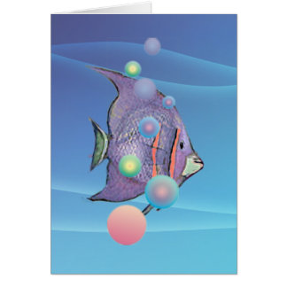 FISH BUBBLE by SHARON SHARPE Greeting Card