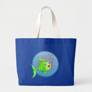 FISH BUBBLE by SHARON SHARPE Large Tote Bag