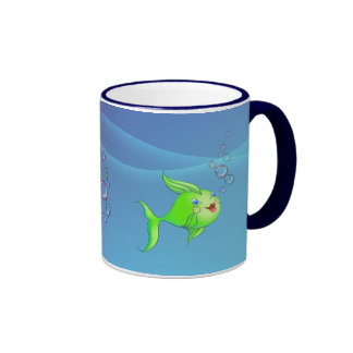 FISH BUBBLE by SHARON SHARPE Ringer Coffee Mug