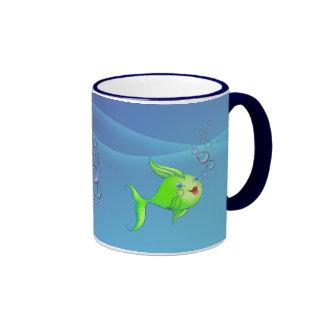 FISH BUBBLE by SHARON SHARPE Ringer Mug