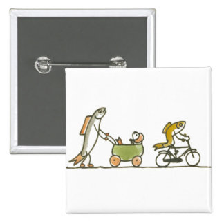 Fish Buggy and Bike Pinback Buttons