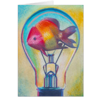 """Fish Bulb"" Surreal Art Notecard by Ashazart"