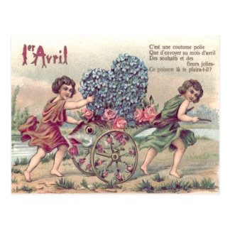 Fish Cart Forget-Me-Not Roses Postcard