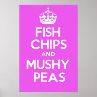 Fish Chips and Mushy Peas (Pink) Poster