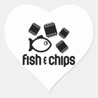 Fish & Chips Heart Sticker