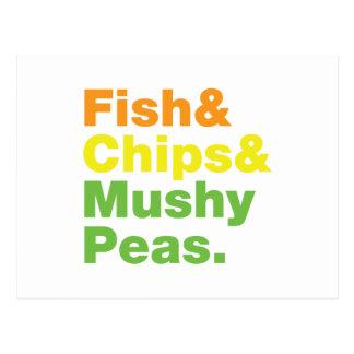 Fish & Chips & Mushy Peas. Postcard