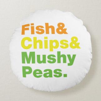 Fish & Chips & Mushy Peas. Round Pillow