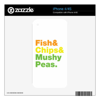 Fish & Chips & Mushy Peas. Skins For The iPhone 4S