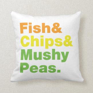Fish & Chips & Mushy Peas. Throw Pillow