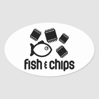 Fish & Chips Oval Sticker