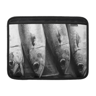 Fish closeup in black and white MacBook sleeves