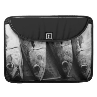 Fish closeup in black and white sleeves for MacBook pro